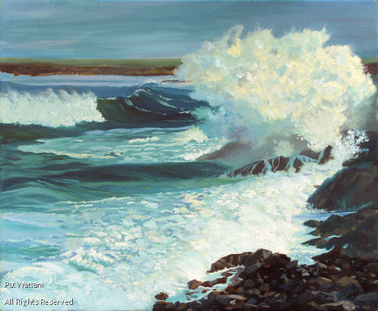 Crashing Waves in Nova Scotia by Pat Wattam Oil ~ 20 x 24