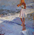 Playing to the Sea by Ann Watcher Oil ~ 48 x 48