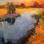 Golden Reeds in the Marsh by Ann Watcher Oil ~ 48 x 48
