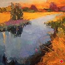 Golden Reeds in the Marsh by Ann Watcher Oil ~ 48 x 48