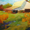 White Barn by Ann Watcher Oil ~ 24 x 48