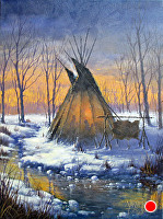Great Plains Teepee by Joseph Yarnell Acrylic ~ 12 x 16