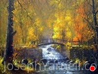 Autumn Bridge by Joseph Yarnell Acrylic ~ 22 x 28