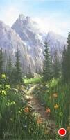 Teton Pathway by Joseph Yarnell Acrylic ~ 24 x 12