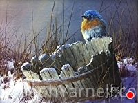 BlueBird on a Bucket by Joseph Yarnell Acrylic ~ 8 x 10
