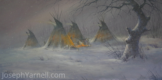 Native Hardship by Joseph Yarnell Acrylic ~ 15 x 30