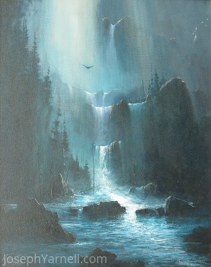 Moonlight Falls by Joseph Yarnell Acrylic ~ 20 x 16
