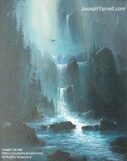 Moonlight Falls by Joseph Yarnell Acrylic ~ 20 x 16