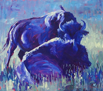 A Purple Pair Plus One by Sonja Caywood Oil ~ 20.5 x 18