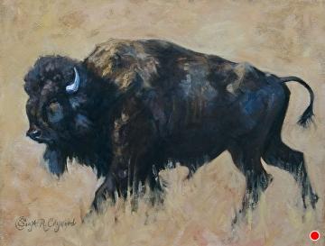 Yellowstone Bull by Sonja Caywood Oil ~ 16 x 20