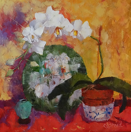 White Orchids and Provence LInens - Oil