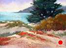 Stillwater Cove from the Carmel Beach Dunes by  Portola  Art Gallery Pastel ~ 11 x 14