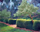 Sunlit Hedges at Allied Arts Guild by  Portola  Art Gallery Pastel ~ 8 x 10