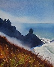 Down the Coast by  Portola  Art Gallery Watercolor ~ 8 x 10
