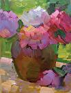 Peonies, Oil, 9x12 by  Portola  Art Gallery Oil ~ 12 x 9
