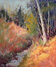 Birch Forest Autumn by  Portola  Art Gallery Pastel ~ 12 x 10