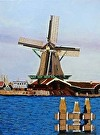 Netherlands Windmill by  Portola  Art Gallery Acrylic ~  x