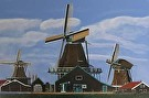 Netherlands Windmills by  Portola  Art Gallery Acrylic ~  x