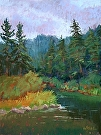 Along the Truckee by  Portola  Art Gallery Pastel ~ 12 x 9