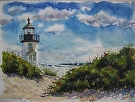 Brandt Pt. Lighthouse by Curl by  Portola  Art Gallery Watercolor ~ 9 x 12