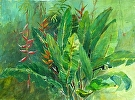 Tropical Jungle by  Portola  Art Gallery Watercolor ~ 18 x 22