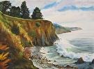 Near Esalen by Curl by  Portola  Art Gallery Watercolor ~ 22 x 30