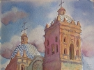 Skies of Santo Domingo, Oaxaca by Curl by  Portola  Art Gallery Watercolor ~  x
