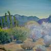 "Desert Flora and Sierra Lagunas by Jolyn Wells-Moran Oil ~ 10"" x 12"""