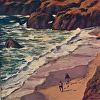 "Sea: Bodega Head by Beverly Bird Acrylic ~ 6"" x 6"""