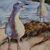 "Sun, Seaweed, Seagulls by Beverly Bird Acrylic ~ 12"" x 9"""