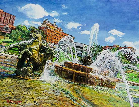 Horsing Around in the Fountain - Acrylic