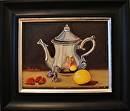 """Silver Tea Pot with Lemon and Red Raspberries"" by Linda Carr Oil ~ 8 x 10"