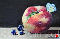 "Peach, Blueberries with Butterfly by Linda Carr Oil ~ 4"" x 6"""