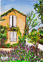 "Lavender in Provence by Linda Carr Oil ~ 5"" x 7"""