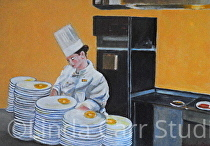 """Chef Cooks the Best Eggs"" by Linda Carr Oil ~ 8"" x 11"""