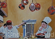 """Chefs Copper Pots"" by Linda Carr Oil ~ 9"" x 12"""