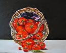 """Basket Overflowing with Tomatoes and Eggplant"" by Linda Carr Oil ~ 11"" x 14"""