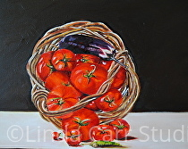 """""""Basket Overflowing with Tomatoes and Eggplant"""" by Linda Carr Oil ~ 11"""" x 14"""""""