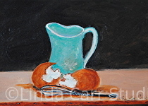 """Fresh Eggs for Baking"" by Linda Carr Oil ~ 5"" x 7"""