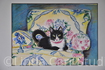 """Look Who's in My Favorite Chair"" by Linda Carr Watercolor ~ 8.5 x 11.5"