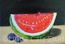 Sweet Raspberries and Watermelon by Linda Carr Oil ~  x