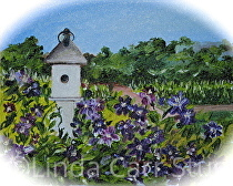 """Summer Purple Clematis Blooming by Linda Carr Oil ~ 8"""" x !0"""""""