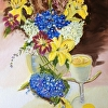 """Blue & Lemon Yellow Summer Floral"""