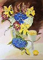 """""""Blue & Lemon Yellow Summer Floral"""" by Linda Carr Oil ~ 12"""" x 16"""""""