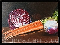 """Shades of Purple, and Oranges by Linda Carr Oil ~ 8"""" x 10"""""""