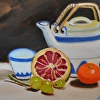 Tea Pot Still Life Oil Painting by artist �Linda Carr