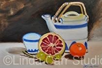 "Tea Pot Still Life Oil Painting by artist �Linda Carr by Linda Carr Oil ~ 8""x10"" x"