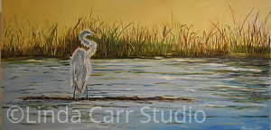 "Crane Resting on Illinois River Shoreline by Linda Carr Oil ~ 12"" x 24"""