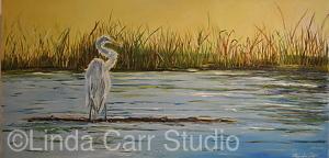 "Crane Resting on Illinois River Shoreline by Linda Carr Oil ~ 12"" x 24"""