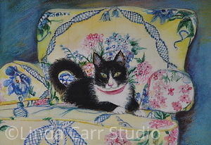 Look Who's In My Favorite Chair by Linda Carr Watercolor ~ 8 x 11